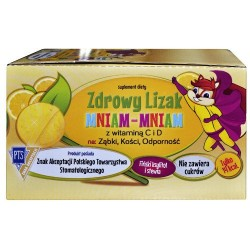 Zdrowy Lizak Mniam-Mniam na ząbki, kości, odporność o smaku cytrynowym 40 sztuk