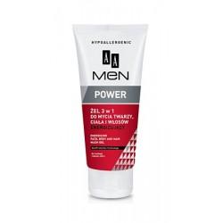 AA Men Power żel 3 w 1 do mycia twarzy, ciała i włosów energetyzujący 200 ml