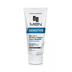 AA Men Sensitive żel 3 w 1 do mycia twarzy, ciała i włosów nawilżający 200 ml