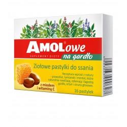 AMOLowe na gardło ziołowe pastylki do ssania z miodem i witaminą C 16 pastylek
