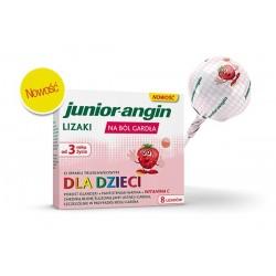 Junior-Angin lizaki na ból gardła o smaku truskawkowym 8szt.
