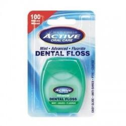 Active Dental Floss nić dentystyczna miętowa woskowana udoskonalona z fluorem 100m