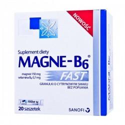 Magne-B6 Fast granulki o cytrynowym smaku bez popijania 20 sasz.