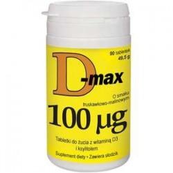 D-MAX 4000j.m. tabletki do żucia o smaku truskawkowo-maliowym 90tabl.