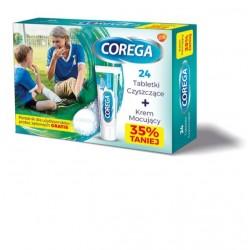 Corega Tabs tabletki czyszczące do protez 24 tabl. + Corega Super Mocny 40g + Poradnik GRATIS