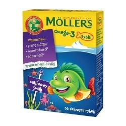 Moller's Omega-3 Rybki żelowe malinowe 36 szt.