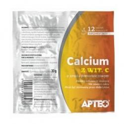 Calcium z wit.C Apteo w folii tabletki musujące smak pomarańczowy  12tabl.