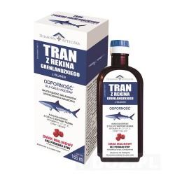 Tran z rekina grenlandzkiego z Islandii o smaku malinowym  165 ml
