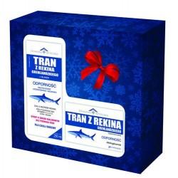 Zestaw prezentowy Tran z rekina grenlandzkiego z Islandii o smaku malinowym  250 ml + Tran z rekina grenlandzkiego 30 kapsułek