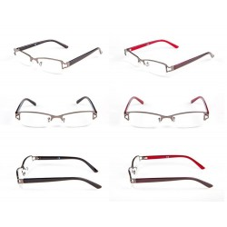 Okulary do czytania Półoprawka metalowa grafitowa zausznik z tworzywa sztucznego model: 1223 + ETUI GRATIS