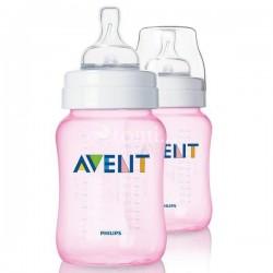 AVENT Classic Butelka do karmienia różowa 1m+ 260 ml