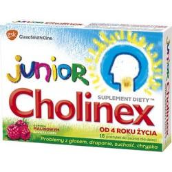 Cholinex Junior pastylki do ssania o smaku malinowym 16 past.